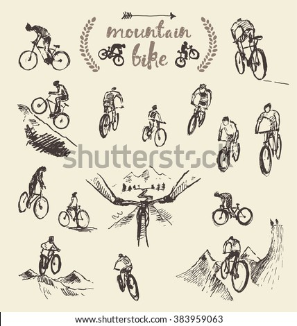 Big set of a hand drawing mountain bikes, vector illustration, sketch - stock vector