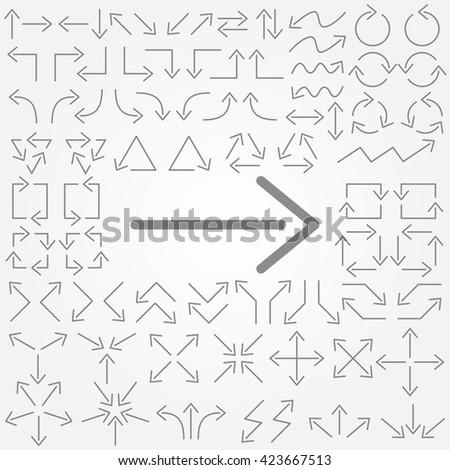 Big set of arrows. Thin arrows. Gray isolated. Vector illustration. - stock vector