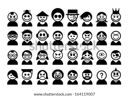 Big set of avatar people icons.  - stock vector