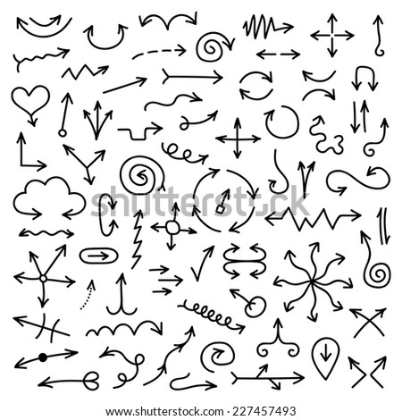 big set of black hand drawn arrows. isolated on white background. sketch style design modern vector illustration - stock vector