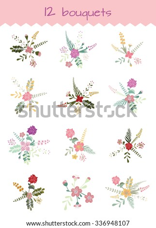 Big set of bouquets of flowers. Hand Drawn flowers and leaves. Editable  Vector illustration on white background. Suitable for cards, decoration weddings and holidays, banners. - stock vector