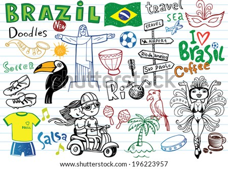 Big set of Brazilian doodles - football, Brazilian accessories, clothes, trees, musical instruments, animals. For banners, sport backgrounds, presentations  - stock vector