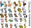 Big set of cartoon animals - stock vector