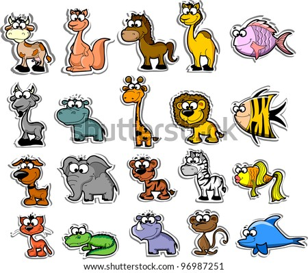 Big set of cartoon animals and fishes - stock vector