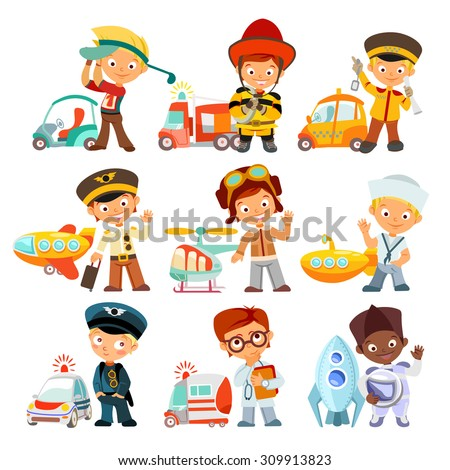 Big set of cartoon kids in various professions with vehicles. Golfer,fireman,taxi driver,aviator,sailor,policeman,doctor,astronaut. Little children in uniform. Vector illustration - stock vector