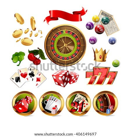 Big Set of Casino Gambling Elements and Icons Including Roulette Wheel, Playing Cards, Dice, Bingo Balls and Cards. Vector Illustration. Casino Gambling game set. - stock vector