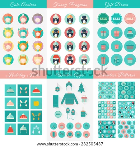 Big set of Christmas and New Year flat vector isolated design elements. Avatars, penguins, gift boxes icons, hats, clothing and seamless patterns on holiday theme - stock vector