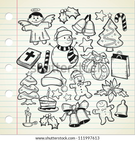 big set of Christmas doodle - stock vector