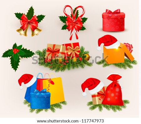 Big set of Christmas icons and objects. Vector illustration. - stock vector