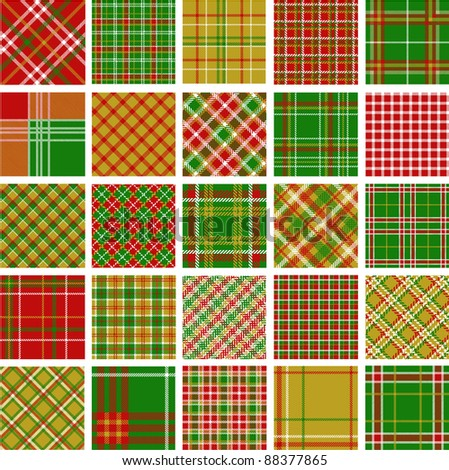 Big set of christmas plaid patterns - stock vector