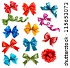 Big set of colorful gift bows with ribbons. Vector illustration. - stock vector