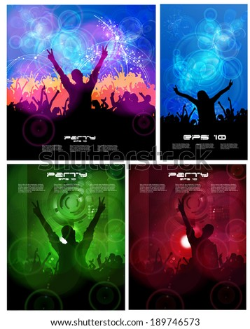 Big set of concert poster. Vector illustration - stock vector