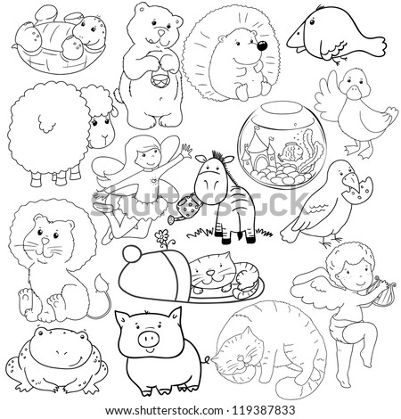 big set of contours of animals, coloring - stock vector