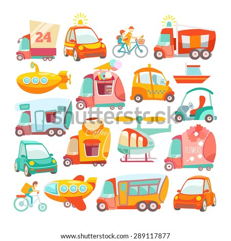 Big set of cute cartoon cars for kids design. Vector illustration for wrapping, package,wallpaper, poster, web design. Set of design elements containing various cartoon cars, boats, bus, helicopter - stock vector