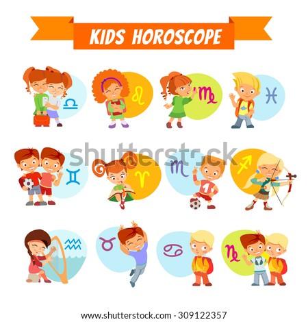 Big set of cute cartoon children as zodiac signs. Zodiac signs cartoon icon set. Kids horoscope. Vector illustration - stock vector