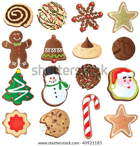 Big set of Cute Christmas cookies isolated on white - stock vector