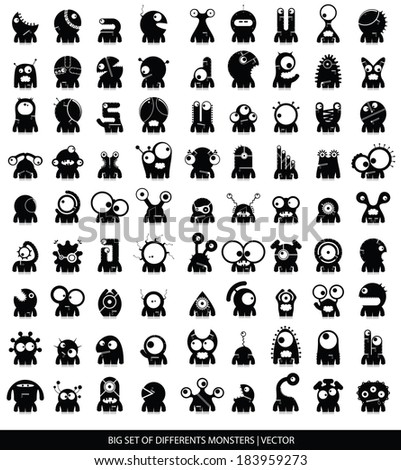 Big set of cute monsters isolated on white. vector - stock vector