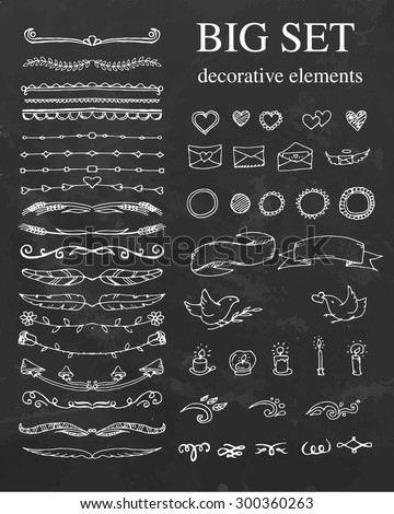 Big set of decorative element. Divides, ribbon, hearts. Vector illustration. - stock vector