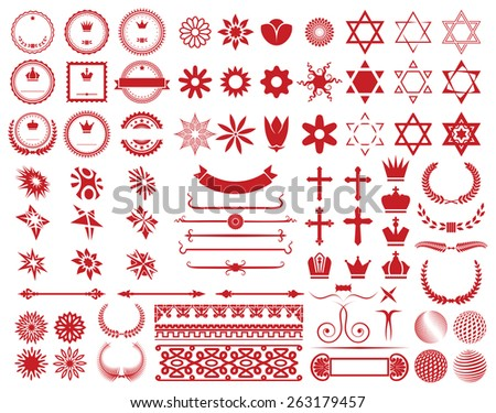 Big set of design elements - stock vector