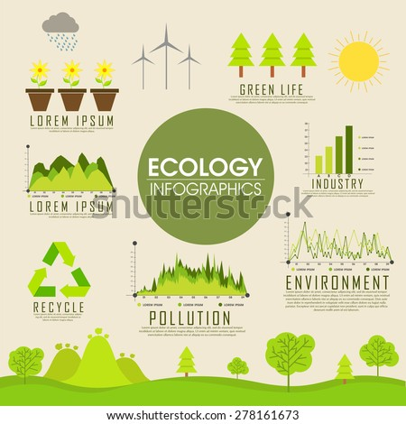 Big set of ecology infographics with various elements. - stock vector