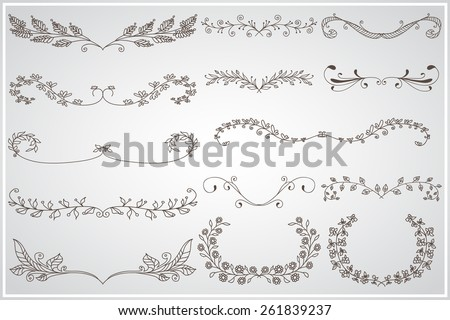 Big set of elegant calligraphic foliage borders and frames - stock vector