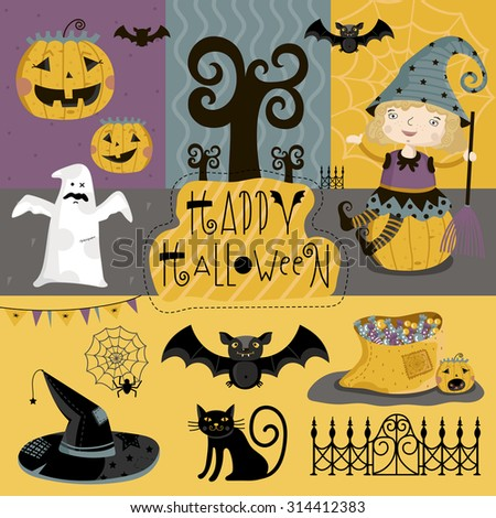Big set of elements of Halloween of bats, cap, ghosts, pumpkins and more. - stock vector