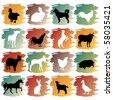 big set of farm animals - stock vector