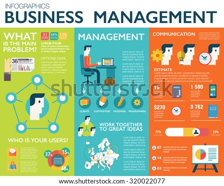 Big set of flat design infographic elements of success business management, customer service, client support, teamwork cooperation process, digital, marketing vision, idea solution, create web project - stock vector