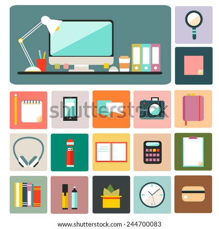 Big set of flat modern design vector illustration of office workspace, workplace, things, equipment, elements, objects, development tools. Various devices. Collection in stylish trendy colors.  - stock vector