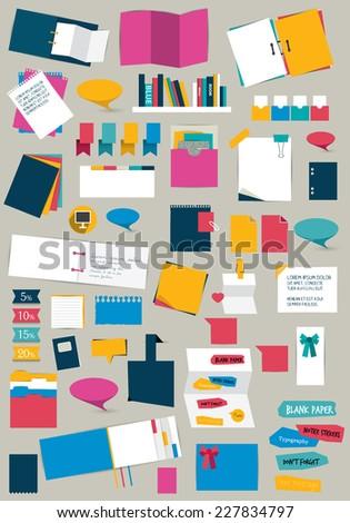 Big set of flat reminder stickers. Infographic set.  - stock vector