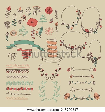 Big set of floral graphic design elements - stock vector