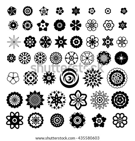 Big set of flowers design elements for brushes, background, banners, logo, icon, pattern, beauty products and advertising. Black flowers icon collection on white background. Vector illustration.  - stock vector