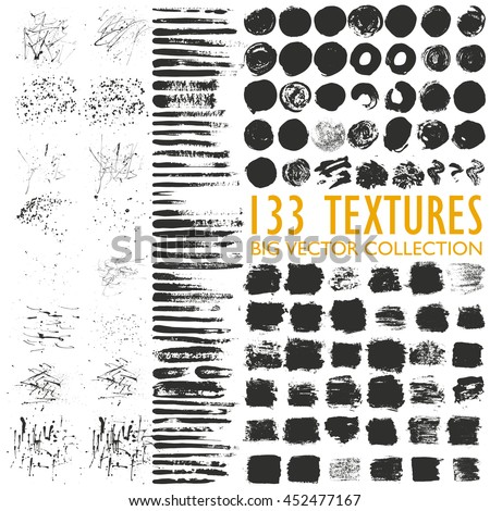 Big set of 133 grungy artistic textures. Messy hand drawn shapes, drops, stains and stokes isolated on white background. Qualitative trace of real paint and ink textures. Trendy design elements - stock vector