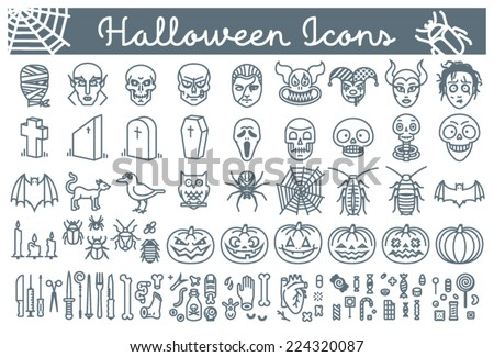 Big set of Halloween line icons, including pumpkins, skulls, bugs, pointy objects, body-parts and candy - stock vector