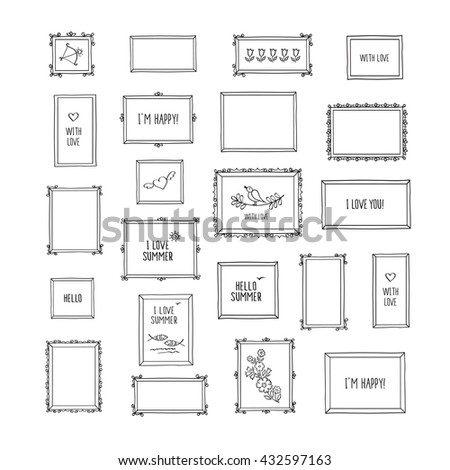 Big set of hand drawn decorative square vintage photo frames with pictures and words. Doodles, sketch for your design. Isolated on white. Vector illustration.  - stock vector