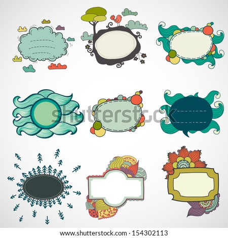 Big set of hand drawn doodle abstract frames, boarders, tags and labels. - stock vector