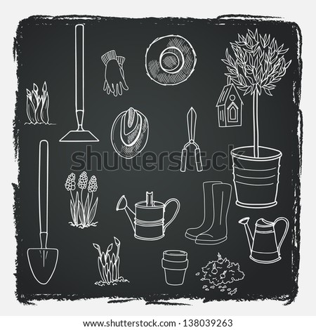 Big set of hand drawn garden tools, pot, ground, olive tree in a pot, straw hat, gloves, rubber boots, watering can, spade and bird house. Vector illustration. - stock vector