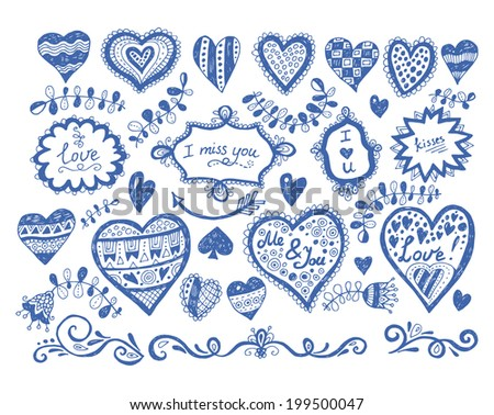 Big set of hand drawn love and heart doodles in a grunge style - stock vector