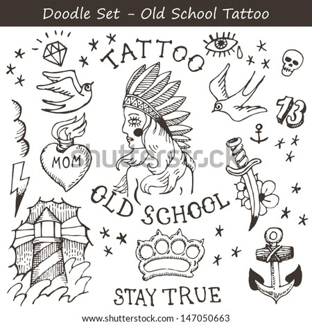 Big set of hand drawn old school tattoo flashes - stock vector