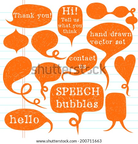 Big set of hand drawn speech bubbles on lined notebook paper background. Doodle cartoon comic bubbles. - stock vector