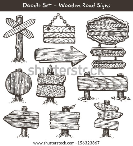 Big set of hand drawn wooden signs. Vector illustration. - stock vector