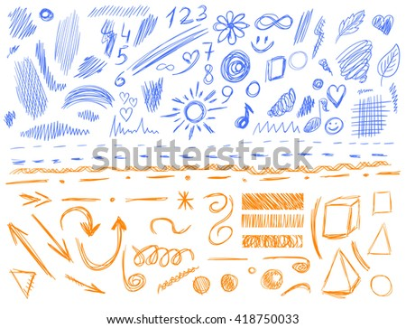 Big set of 105 hand-sketched design elements, pen drawings, VECTOR illustration isolated on white. Blue and orange scribble lines.  - stock vector