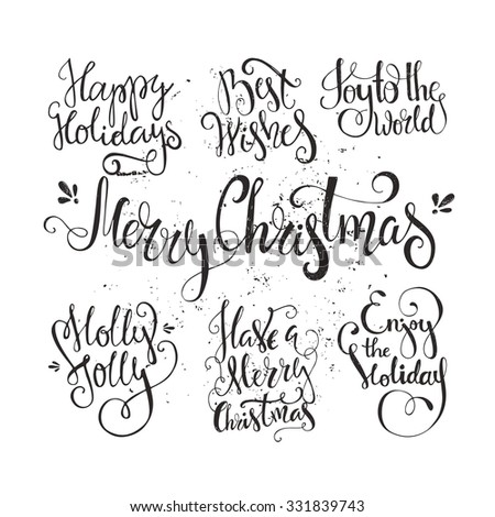 Big set of handdrawn new year and christmas lettering. Vector xmas collection. Decoration element for cards and invitations. - stock vector