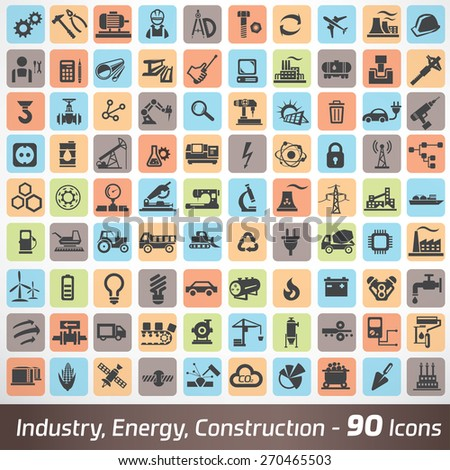 big set of industry, engineering and construction icons and symbol, technology and process concept - stock vector