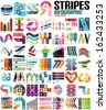 Big set of infographic modern templates - stripes, ribbons, lines. For banners, business backgrounds, presentations - stock vector