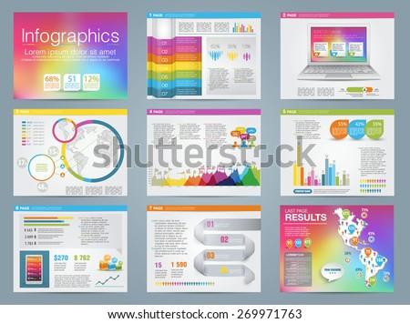 Big set of infographics elements business style. Rainbow color.  - stock vector
