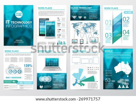 Big set of infographics elements in modern business style.  - stock vector