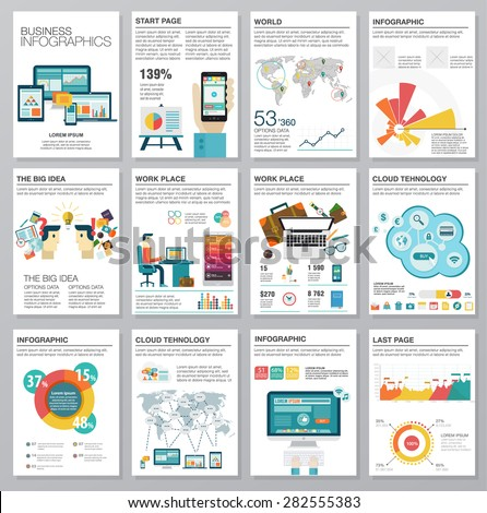 Big set of infographics elements in modern flat business style. Vector illustrations of modern infographics about IT. Use in website, flyer, corporate report, presentation, advertising, marketing. A4 - stock vector