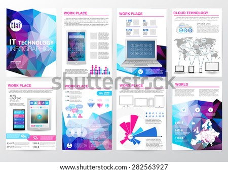 Big set of infographics elements in modern polygon business style. Vector illustration of modern infographic about IT. Use in website, flyer, corporate report, presentation, advertising, marketing. A4 - stock vector
