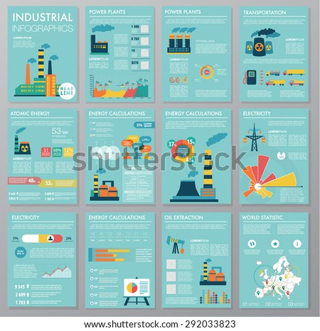 Big set of infographics elements, industrial infographics and Information Graphics. Easy to edit map. Flat style. Use in website, flyer, corporate report, presentation, advertising, marketing. A4 - stock vector